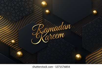 Ramadan Kareem. Modern cover design. Vector islamic illustration. Holiday banner. Muslim month Ramadan poster template. Black and gold banner with geometric shapes and traditional girih pattern