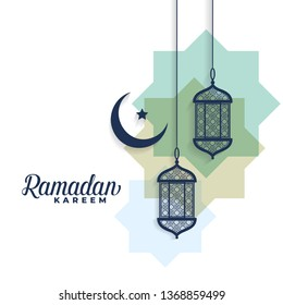 ramadan kareem moon and arabic lamps background