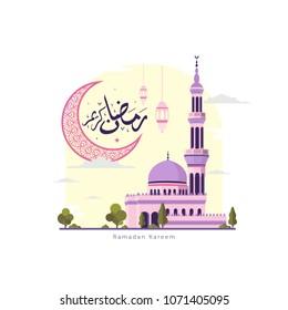 Ramadan kareem with moon, mosque and lantern background design