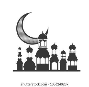 ramadan kareem mosque building with moon