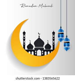 Ramadan Kareem Mosque in Cresent Moon with Hanging Lantern Creative Typography background