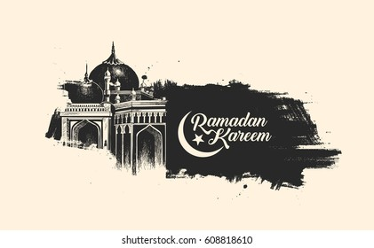 Ramadan Kareem Mosque or Masjid. vector illustration.