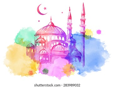 Ramadan Kareem. Mosque night. Bright watercolor stains background. Vector illustration.