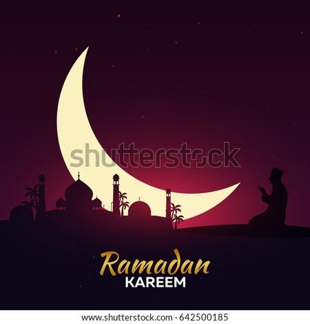 Ramadan kareem ramadan mubarak greeting card stock vector royalty ramadan kareem ramadan mubarak greeting card arabian night with crescent moon m4hsunfo