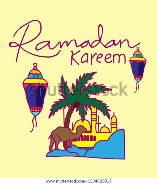 ramadan kareem is muslim event, background with doodle style vector illustration.