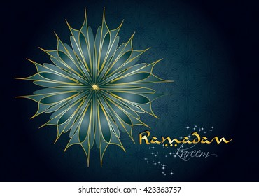 Ramadan kareem - muslim islamic holiday celebration greeting card or wallpaper with arabic floral ornaments and calligraphy