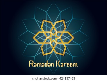Ramadan kareem - muslim islamic holiday celebration greeting card or wallpaper with arabic floral round ornaments, arabesque mandala and calligraphy