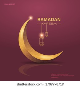 ramadan kareem muslim religion holy month greeting card flat copy space vector illustration