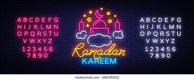 Ramadan Kareem neon sign. Ramadan Kareem vector banner in neon style, night bright signboard, celebration of Muslim community festival, islamic greeting design, greeting card. Editing text neon sign