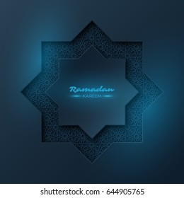 Ramadan Kareem octagon. Holiday design with blue glowing light and traditional style pattern. Vector illustration.