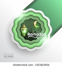 Ramadan Kareem paper art or paper cut style with Fanoos lantern, Crescent moon & Mosque Background in green Color abstract Shape. For Web banner, greeting card, Poster & Promotion template