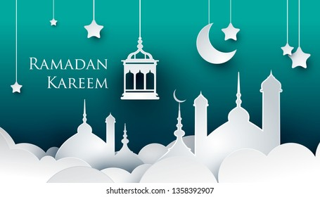 Ramadan kareem paper art style design. Modern 3D islamic illustration with mosque, lamp and crescent on green background. Islamic celebration.
