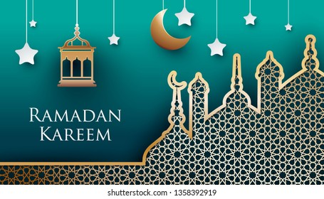 Ramadan kareem paper art style design. Modern 3D islamic illustration with golden mosque, lamp and crescent on green background. Islamic celebration.