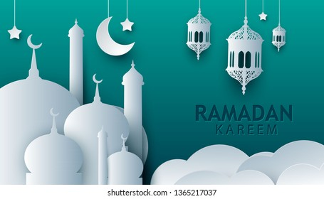 Ramadan kareem paper art style design. Modern 3D islamic illustration with mosque and crescent on green background. Islamic celebration.