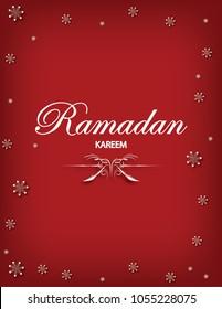Ramadan kareem postcard and greeting card design with caligraphy text.