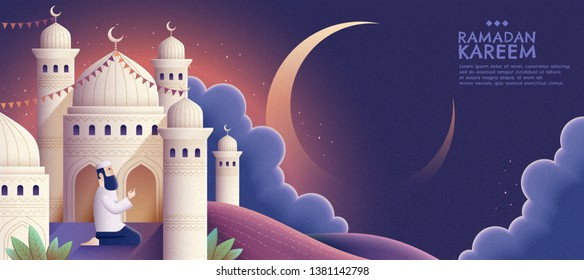 Ramadan Kareem prayer and mosque at night in hand drawn style banner