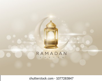 Ramadan Kareem premium glowing gold arabic lamp design card background . Vector illustration.