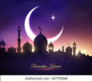 Ramadan Kareem or Ramazan Mubarak greeting card with mosque minarets, crescent moon and twinkling star in blue night sky. Vector design for Islamic or Muslim traditional religious holiday celebration