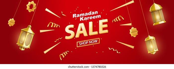 ramadan kareem sale banner lanterns place for text eid