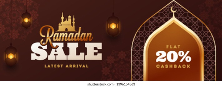 Ramadan Kareem sale header or banner design with 20% discount offer and illustration of mosque gate on brown islamic pattern background decorated with arabic lighting lanterns.