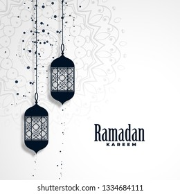 ramadan kareem season background with hanging lamps