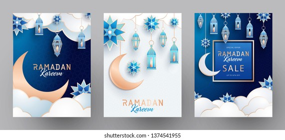 Ramadan Kareem set of posters or invitations design with islamic geometric patterns, arabesque, traditional lanterns, crescent and stars on dark blue night sky and early morning background.
