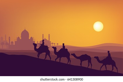 Ramadan kareem sunset illustration. A man ride camel silhouette with sunset mosque, coconut tree, and sun background in ramadan moment