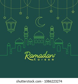 Ramadan Kareem template or copy space. Mosque with crescent moon and lantern in gradient lien art style on green background. Ramadan Kareem means Ramadan the Generous Month.