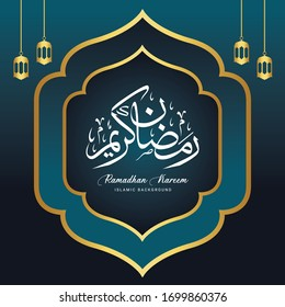 Ramadan Kareem Template Design with gold color. Vector Illustration for greeting card, poster and banner.