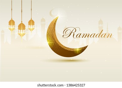 Ramadan kareem, template islamic ornate greeting card vector. with golden luxurious crescent
