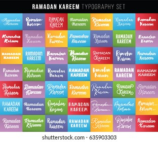 Ramadan kareem. Text design, calligraphy. Greeting cards with typography. Labels set.