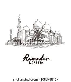 Ramadan Kareem text with mosque. Vector illustration. Ramadan Mosque skech