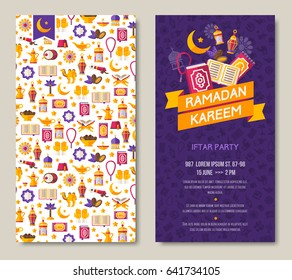 Ramadan Kareem two sides poster, flyer or invitation design. Vector illustration. Place for your text message.