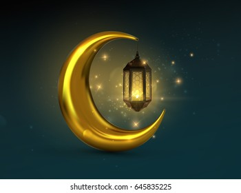 Ramadan Kareem. Vector 3d islam religious illustration of glowing arabic lantern, shiny particles and golden crescent moon. Muslim holy month Ramadan postcard design.