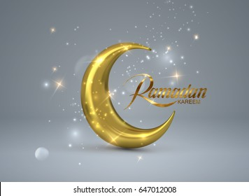 Ramadan Kareem. Vector 3d islam religious illustration of shiny particles, stars and golden crescent moon. Muslim holy month Ramadan postcard design