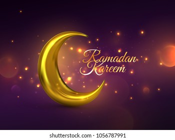 Ramadan Kareem. Vector 3d religious illustration of shiny particles, sparkles and golden crescent moon. Muslim holy month Ramadan postcard design. Islamic event