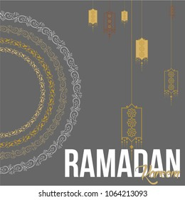 Ramadan kareem vector greeting template. Islamic motifs and geometric patterns were used. For the holy month of Muslims, Greeting cards can be used as advertisements, discounts, posters.
