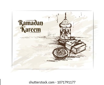 Ramadan Kareem. Vector illsutration. Vintage. Hand drawn arabic still life on the vintage background. Table with Caran, beast, dates, nuts, book, cup of milk. Islam. Muslim.