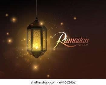 Ramadan Kareem. Vector illustration of handwritten Ramadan Kareem retro label and glowing arabic lantern. Muslim holy month Ramadan postcard design.