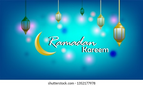 Ramadan Kareem vector illustration with lantern and mosque decoration for greeting card, banner, poster, invitation, web page, web background. Text translation : Holy month ramadan.