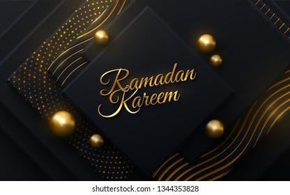 Ramadan Kareem. Vector islam religious illustration. Muslim holy month Ramadan postcard design. Black banner textured with geometric shapes and shimmering glitter patterns