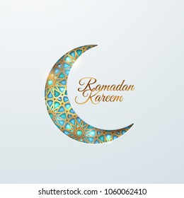 Ramadan Kareem. Vector islamic religious illustration of gemstones encrusted crescent moon. Muslim holy month Ramadan postcard design. Golden girih ornament and shiny turquoise crystals