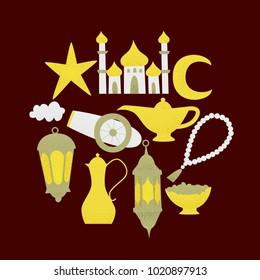 Ramadan kareem, vector muslim design, golden lanterns and mosque