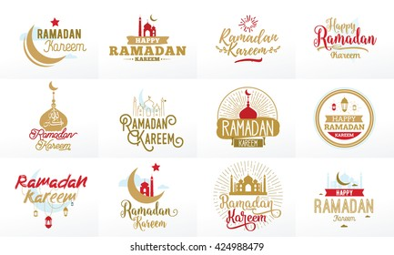 Ramadan kareem. Vector typographic design set of  calligraphy and lettering. Usable for greeting cards, print and clothing.