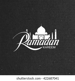 Ramadan Kareem. Vector typographic illustration of handwritten Ramadan Kareem label and mosque building. Lettering composition of muslim holy month