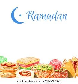Ramadan Kareem. Vector watercolor illustration. Halal food. Islamic bakery background.   Isolated elements for easy use. Frame.