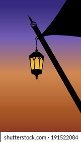 Ramadan lamp hanging from a traditional tent
