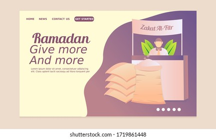 Ramadan landing page with man keeping the stand with rice and waiting people to coming to pay Zakat Al Fitr