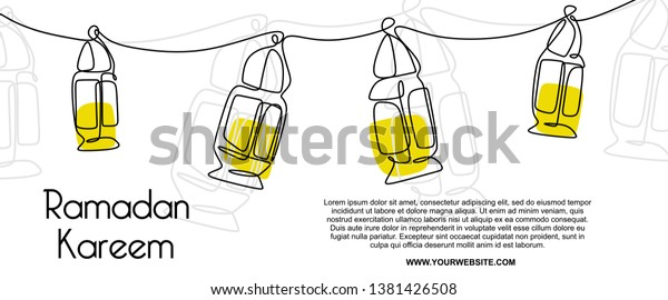 lantern banner template  Ramadan Lantern Banner Template Continuous Line Stock Vector ...