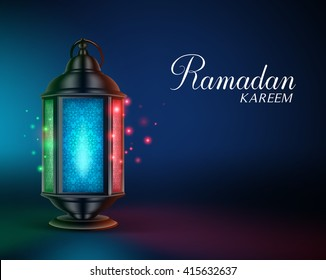 Ramadan Lantern or Fanous with Lights and Ramadan Kareem Greetings in a Colorful Night Background. 3D Realistic Vector Illustration